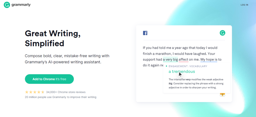 Grammerly google chrome extension