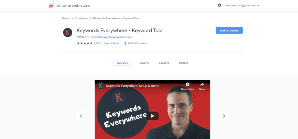 Keyword Everywhere google chrome extension