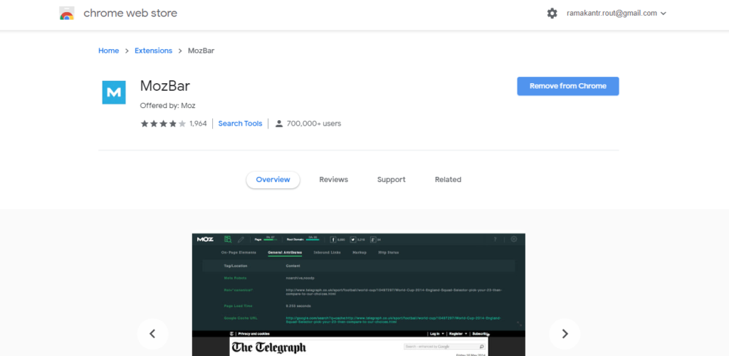 Mozbar google chrome extension